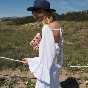 White dress for sunset amp Colorful Straw Bag  Besthellip