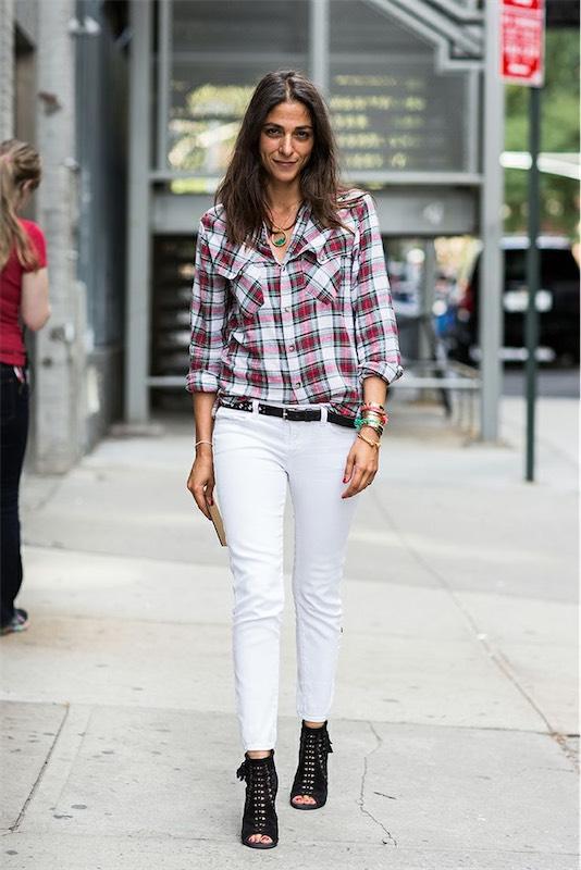 street-style-capucine-safyurtlu-plaid-shirt-white-jeans